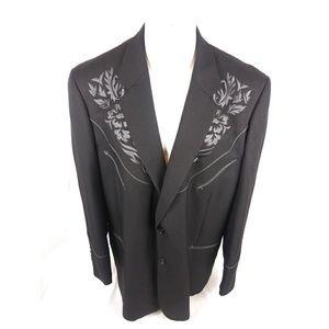 Scully Mens Sz 52 Embroidered Western Blazer Black